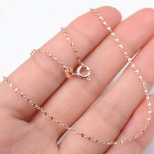 18K Rose Gold Filled Hypo-allergenic Shiny Wave 18inch *1mm Chain Necklace H1157