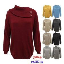 Womens Ladies Knitted Polo Neck Pullover Sweater 3 Buttons Jumper Top Plus Sizes