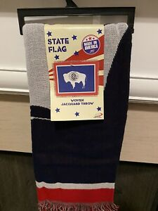 state flag woven Tapestry jacquard throw Wyoming New With Tags