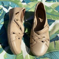 Size 8 - CLARKS COLLECTION Tan Strappy Leather Comfort Shoes
