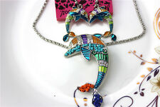 New Betsey Johnson jewelry sets Enamel dolphin pendant earrings necklaces YY818