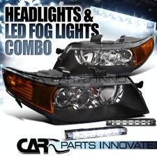 2004-2005 Acura TSX 4Dr Sedan Black Projector Headlights+6-LED Fog Bumper DRL