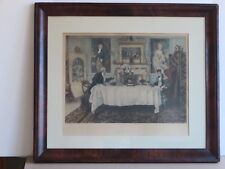 Hand Colored Etching 'Darby & Joan' at Dinner Table by William Dendy Sadler