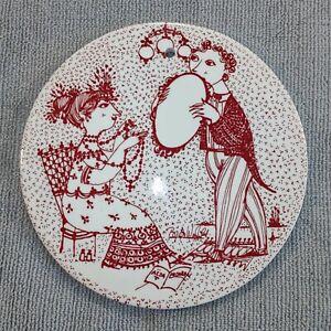 Vintage Bjorn Wiinblad Nymolle Denmark 2 Ceramic Tiles Red September November