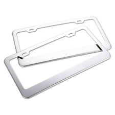 Top 2x Aluminium Alloy Car Auto Metal License Plate Frame Holder Box Set Silver