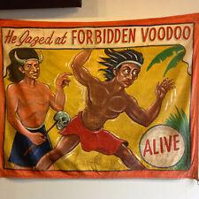Original Snap Wyatt Forbidden Voodoo Vintage Sideshow Carnival Banner Sigler