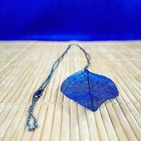 "BLUE GREEN LEAF NECKLACE ON LONG CHAIN 28"" Light weight METAL Woven Birch leaf"