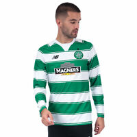 Mens New Balance Celtic Fc Home L/S Jersey In Green White