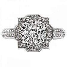 Platinum Vintage Type Halo Round Diamond Ring 3.50 CTW GIA VS1