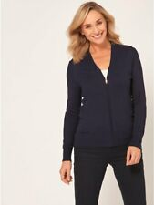 M/&Co V Neck Zip up Viscose Long Sleeves Cardigan Jumper Sweater Top 14 16 18 20