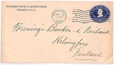 Vv474 1907 Usa Chicago 5c Banking Postal Stationery Finland {samwells-covers}