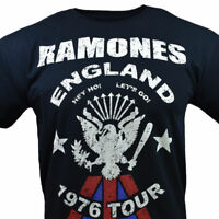 "RAMONES Men's T-shirt -1976 TOUR ""Hey Ho Let's Go"" -ENGLAND-Vintage-ROCK- BLACK"