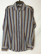 Coast Men's L Made In Italy Brown/Blue Striped Long Sleeve Button Down Shirt