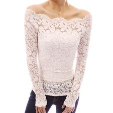 Women Sexy Off Shoulder Lace T-shirt Scalloped Long Sleeve Shirt Fall Top Blouse