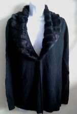 (NWT) Laura Scott Size Med Black Sweater With Faux Fur Collar Retails @$50.00
