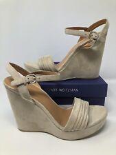 e91f6e0b2c9 Stuart Weitzman Sundraped Beige Suede Platform Wedge Sandals Size 10 US