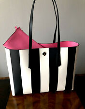 NWT Kate Spade Black & White Stripe Pink Interior MOLLY Stripe LARGE Tote Bag