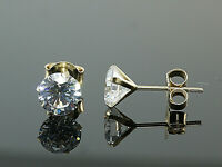 585 Gold Ohrstecker 1 Paar 6mm Grösse 4 Krappen mit Zirkonia Steinen