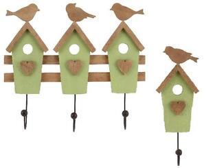 Triple or Single Wooden Bird House Wall Hook Hooks Coat Heart Detail Costal