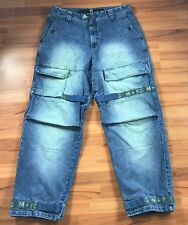 MARITHE FRANCOIS GIRBAUD Vintage Shuttle Green Tape Baggy Loose Cargo Jeans 38