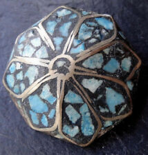 antique early 20th century TURQUOISE inlay flower brooch c pin -R67