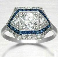 Vintage Art Deco 4 Ct Diamond/Sapphire 10k White Gold Finish Engagement Ring