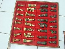 Chess Set Vintage Large ase engraved Nigri Soldiers black & cream rare with box