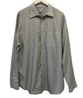 Banana Republic Mens Shirt Size XL Blue Yellow Striped Long Sleeve Button Down