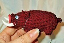 Wild Pig Doll ooak folk art hand crocheted plush fabric soft teddy bear boar red