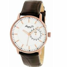 $125 BRAND NEW KENNETH COLE KC1780 NEW YORK ROSE GOLD BROWN LEATHER STRAP WATCH