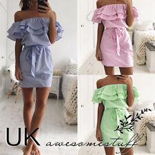 UK Womens Bandeau Holiday Dress Ladies Summer Pinstriped Smock Dress Size 6-14