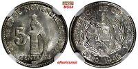 Guatemala Silver 1945 5 Centavos NGC MS64 GEM BU COIN KM# 238.1