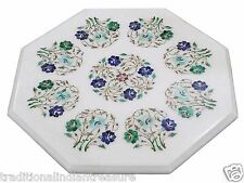 """17"""" White Marble Coffee Table Top Multi Inlay Floral Design Housewarming Gift"""