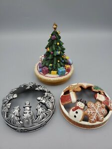 Yankee Candle Jar Topper Christmas Lot Of 3 Tree, Gingerbread & Snowman
