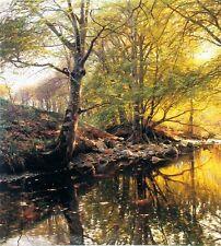 Huge Oil painting Peder Monsted forest stream wonderful landscape in dusk canvas