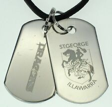 ST GEORGE DRAGONS NRL LOGO MENS DOUBLE DOG TAG S/S LEATHER NECKLACE JEWELLERY