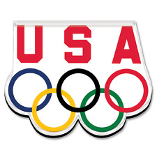 USA OLYMPIC RINGS ACRYLIC MAGNET, REFRIGERATOR, LOCKER, MADE IN USA