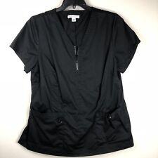 Koi Womens Sz 2X Scrub Top Stretch McKenzie Zip V Neckline Black 204