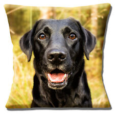 Perro Labrador Negro Funda de cojín 40.6x40.6cm 40cm Laboratorio Foto estampada