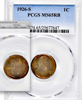 1926-S PCGS MS65 RB █ $115,000 CU for 65RD █ 90% RED █ PQ+ Lincoln Wheat Cent 1c