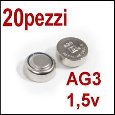 20 PILE 1,5V AG3 LR736 LR41 192 BATTERIA BOTTONE OROLOGIO BATTERIE PILA (non 10)