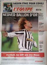 L'Equipe Journal 23/12/2003; Nedved Ballon d'or/ Covili/ Peyron/ 100 ans à l'eau
