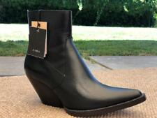 ZARA COWBOY ANKLE SHORT BLACK LEATHER  BOOTS 36/6 $169