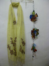 "Etnika Yellow Embroidered Flowers Scarf Accessory 70"" Long 20"" Wide Linen"