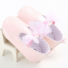 Cute Baby Girls Bowknot Leather Ballet Anti-slip Soft Crib Sole Newborn Shoes