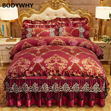 Vintage chic lace ruffled duvet cover with bed skirt pillowcase luxury bedding