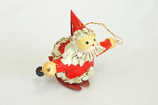 Vintage Paper Mache Skiing Santa Christmas Ornament Holiday Tree Decoration