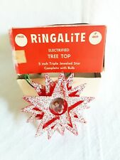 vintage Ringalite Electrified Tree Top 5 inch Triple Jeweled Star Christmas Leco