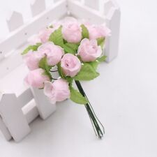 2CM 12pcs Pink Silk Fabric Mini Artificial Flower For Wedding Decor