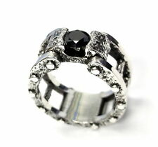 Men's Silver Wedding Band With Black Diamond by Sacred Angels